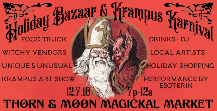 flyer, banner, krampus holiday bazaar, thorn and moon market, december 2018, houston, tx